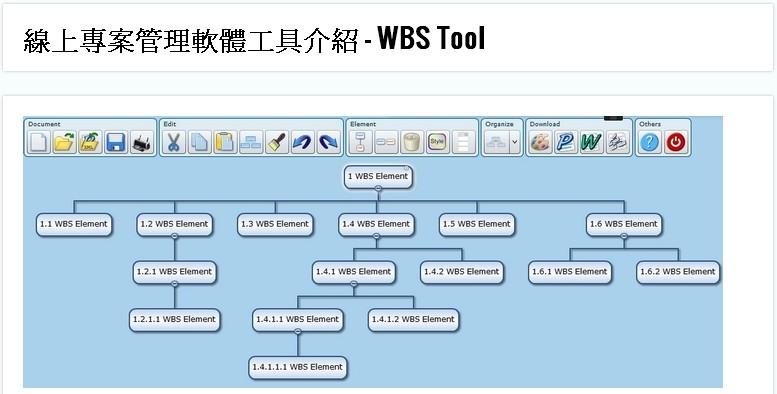 線上專案管理軟體工具介紹 – WBS Tool